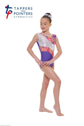 Tappers and Pointers Gymnastics Leotard PLUS Matching HairScrunchie Purple Gym39